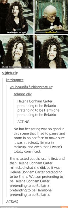 It's creepy because it definitely comes off as Hermione disguised as Bellatrix.