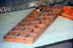 Antique Wooden Yardstick Organizer Box: Handmade Ruler Tray or Wall Hanging w/ Multiple Tiny Compartments -- Jewelry, Keepsake, Art Supplies