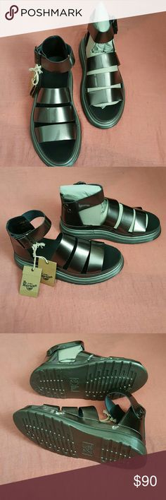 DR. MARTENS SANDALS New, Dr Martens Clarissa Chunky Straps Sandals ,  Size US 8, UK 6, EU 39. color Pewter. (Like gray) Size does say us 8 but will fit a size 9.  so it's listed Eu. 39 equivalent. Dr. Martens Shoes Sandals