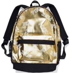 """VS Gold Limited Edition Campus Backpack LIMITED EDITION!  I payed $130 & this is super hard to find. gorgeous backpack! w white """"pink"""" logo all over. comment below & I will answer any questions Victoria's Secret Bags Backpacks"""