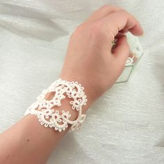 Lace Lace Lace bracelet in cream - Bridal lace jewellery -delicate handmade lace £35.00