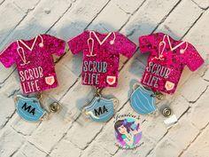 Diy Resin Art, Diy Resin Crafts, Acrylic Keychains, Scrub Life, Badge Design, Badge Reel, Custom Tumblers, Badge Holders, Baby Boutique