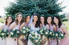 David's Bridal bridesmaids in tickled pink mis matched dresses