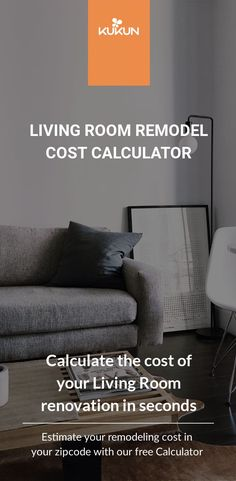 Avoid surprise expenses when renovating your living room. Use this free Remodeling Cost Calculator and discover the cost of your dream living room. [Living Room Renovation Ideas, Home Remodel Costs, Renovations Cost Calculator] #LivingRoomIdeas #HomeImprovements #LivingRoomRemodels