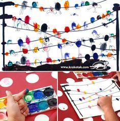 Migratory birds simple printmaking with fingerprints Classe D'art, Fingerprint Art, Migratory Birds, Kindergarten Art, Art Classroom, Art Club, Art Activities, Children Activities, Creative Kids
