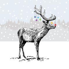 Christmas Trends, Christmas Deer, Elegant Christmas, Christmas Inspiration, Christmas Wreaths, Merry Christmas, Christmas Decorations, Christmas Cards Illustration, Antler Drawing