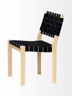 Artek Alvar Aalto 611 Chair Designed by Alvar Aalto in Chair 611 was one of his first furniture pieces. Clean-lined and functional, the innovative webbed design of this chair mimics the spirit of Aalto's modern architecture. Alvar Aalto, Small Bedroom Furniture, French Furniture, Chair Design, Furniture Design, Garden Furniture, Side Chairs, Dining Chairs, Dining Room