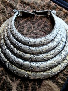 Traditional 5-Ring Hmong Torc Necklace