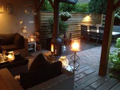 The lighting makes this gorgeous space spectacular. Outdoor Areas, Outdoor Rooms, Outdoor Living, Outdoor Decor, Outside Living, Small Garden Design, Decks And Porches, Inspired Homes, Garden Inspiration