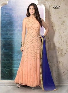 Genius Peach Net Embroidery Work Long Anarkali Suit http://www.angelnx.com/Salwar-Kameez/Anarkali-Suits