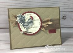 Just a Note Rooster – Hand Stamped Cards with Josee Smuck-Stampin' Up! Stampin Up Canada, Home To Roost, Old Stamps, Hand Stamped Cards, Coq, Animal Cards, Scrapbook Supplies, Scrapbooking, Ink Pads