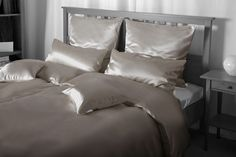 Helios Ash Silk Bed Linen on www. Silk Bedding, Bed Linen, Ash, Room Decor, Home, Bed Ideas, Bed Linens, Gray, Bedding