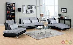 Saillon Contemporary Gray and Black Living Room Set with Pillows