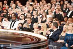 "Casey Affleck (front left), Matt Damon, Mel Gibson (behind Damon) Michelle Williams (center), Busy Philipps, Ben Affleck, Salma Hayek (behind Affleck) Meryl Streep (far right), Dwayne ""The Rock"" Johnson, Sting (top right) Lucas Hedges, and Oscars guests"
