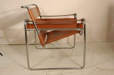 "Marcel Breuer ""Wassily"" Style Chair. Brown Leather & Metal Mid Century Modern."
