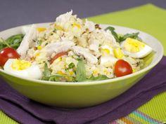 poivre, riz, mayonnaise, blanc de poulet, ciboule, oignon rouge, oeuf, tomate, persil, sel, maïs