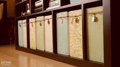 Great magazine organization with recycled US Post Office boxes and scrapbook paper