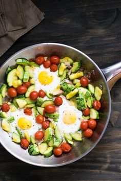 One-Pot Zucchini, Tomato, Bacon and Eggs | Travel Cook Tell