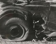 Heydrich's mercedes damaged by explosion of British antitank bomb throwed by Jan Kubiš