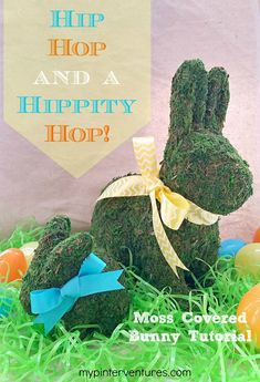 Moss Covered Easter Bunny Tutorial. Make a knock-off of a $79 Pottery Barn moss covered bunny for under $20. Perfect for Easter decorating!