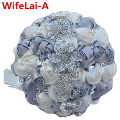 ==> [Free Shipping] Buy Best Silver Ivory Bridal Stitch Brooch Bouquets Ramos de novia Artificial Flowers Crystal Ornament Bride Wedding Bouquet Custom W228 Online with LOWEST Price | 32719855294