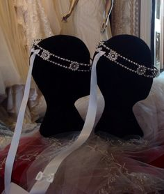 Unique Greek Orthodox crowns - STEFANA   Hand made with Swarovski pearls and CLEAR stones