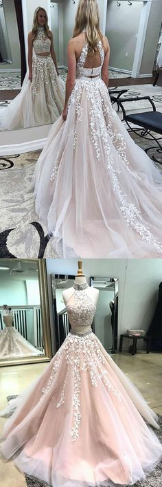 2018 Unique Two Piece High Neck Open Back Prom Dress , Long Light Champagne Party Dress with Appliques Graduation Dresses Long, Open Back Prom Dresses, A Line Prom Dresses, Tulle Prom Dress, Event Dresses, Formal Evening Dresses, Mermaid Dresses, Wedding Party Dresses, Homecoming Dresses