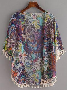 Kimono flecos paisley -marino-Spanish SheIn(Sheinside) Sitio Móvil