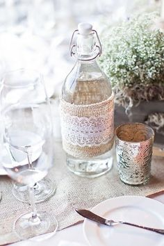 burlap water bottle