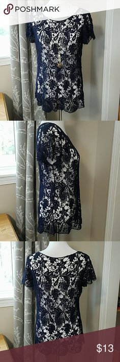 Maurices Lace Overlay Tee Maurices lace overlay tee in pretty navy blue color. Great condition! Maurices Tops Tees - Short Sleeve