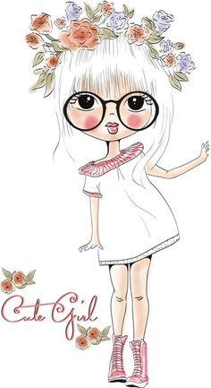 Une fille belle Gratuit PNG et Vecteur Illustration Mignonne, Illustration Girl, Girl Illustrations, Art Mignon, Big Eyes, Cute Cartoon, Cute Drawings, Cute Art, Art Girl