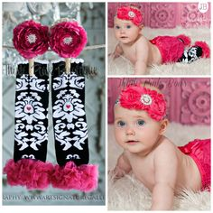 Baby headband and leg warmers SET Pink Baby by ThinkPinkBows, $14.95