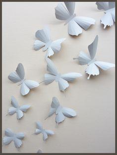 3D Wall Butterflies - 15 Light Gray Butterfly Silhouettes, Nursery, Home Decor, Wedding