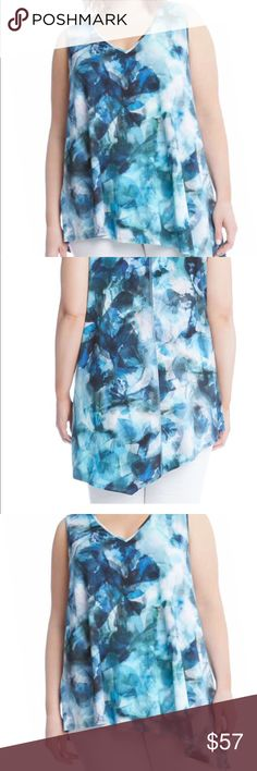 NWT KAREN KANE SEA GLASS Asymmetric top with abstract blue print. Hi low swing top. 93% Viscose and7% Spandex. Easy to take care. Karen Kane Tops Tunics