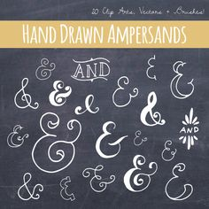 Hand drawn, vintage style chalkboard ampersands and ANDs with bonus chalkboard paper background! 80 ELEMENTS total: perfect for etsy banners, diy