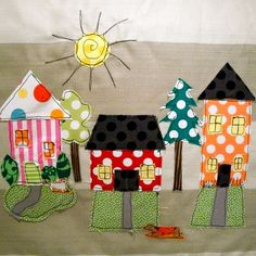 I'd like to applique some houses onto a few blocks! - a lovely day in the neighborhood  :)