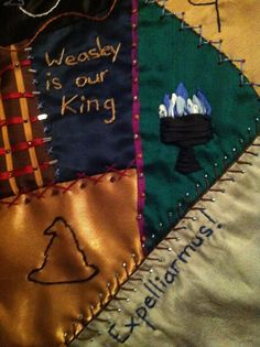 Harry Potter Embroidered Crazy Quilt - BeanTown Embroidery Blog