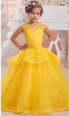 Tamaños de niña Belle princesa vestido de encaje amarillo