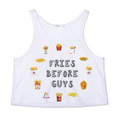 Cute Fries Before Guys Crop Tank Top — Kollage