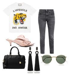 """Spring Look"" by catmarguerite on Polyvore featuring Gucci, Levi's, N°21, Oscar de la Renta, Ray-Ban, StreetStyle, stylist and fashionblog"