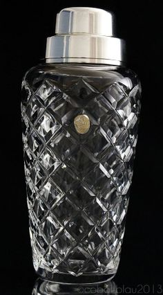 Cocktail Shaker, Lead Crystal, Silver Plated