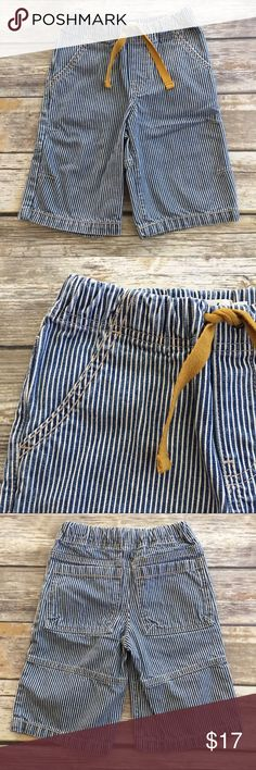 Mini Boden Pinstripe Denim Shorts Blue and white pinstripe (railroad stripe) denim shorts. Elastic waistband with drawstring tie. Excellent condition. Mini Boden Bottoms Shorts