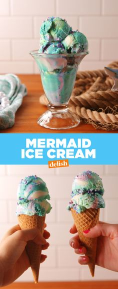Mermaid Ice Cream: 3 c. heavy cream, 1 14-oz. can sweetened condensed milk, 1 tsp. pure vanilla extract, green, blue, and purple food coloring, Sprinkles, for topping (optional). Freeze five hours in a loaf pan.