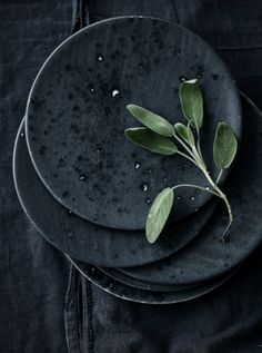 Beautiful Minimalism: black deko with plates & herbs. More: http://www.leuchtend-grau.de/2014/11/black-interiors.html