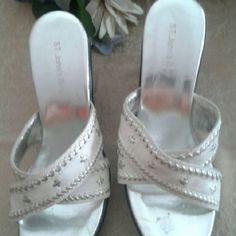 Sandals New never worn  4 in heel  with sliver  stud st John  bay Shoes Espadrilles