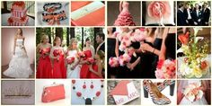 Black white and coral wedding colors.... VERY cute! think we might go with these colors instead!