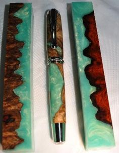 (DP) A perfect combination of mother nature and science. These pen blanks are meticulously selected out of burled wood caps and cast in colored resin, which limits chip out & does not have the smell of acrylic when turning it. We recommend using thin coat or coats of thin CA glue before putting a final finish of your likings. This step will seal wood and Alumilite to an even sheen. Once turned,it resembles the sandy beaches of the Fiji Islands with its turquoise waters. Turns and finishes…