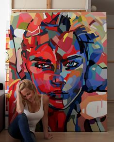 large scale portrait of a woman. contemporary art.