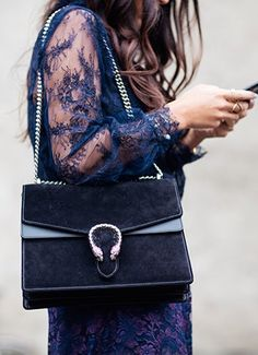 #StreetStyle details: Gucci navy suede bag