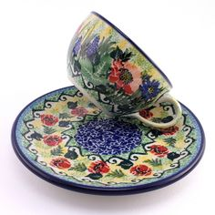 Unique cup with plate by Slavica Polish Pottery, see http://slavicapottery.com :)